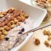 Porridge, Haferschleim, Dinkel, Mohn, Korinthen, Maulbeeren Mohn-Morridge, poppy seeds,