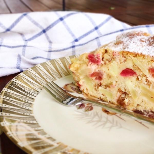 Sharlotka, glutenfrei, ohne Gluten, Rhabarber, Rhubarb, Äpfel, glutenfree