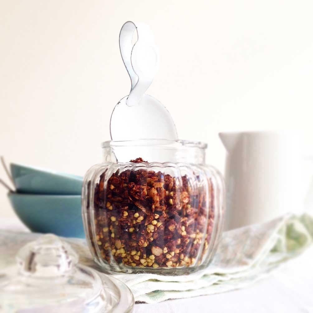 Granola, Buchweizen, buckwheat, glutenfrei, Koks, Kakao, Schokolade, Kakao-Granola, Kokos-Granola, Frühstücks-Idee, veggie
